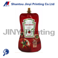 Eco friendly clear plastic laminated gusset bag with pouch for ketchup