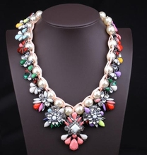 Z71141M Colorful woven with pearl jewel studded short chain clavicle women's necklace