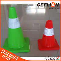 "28"" Green Flexible Safety Reflective Orange PVC Traffic Cones"