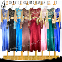 MD A002 Hot sale muslim long sleeve baju kurung cotton fabric Modern style muslim baju kurung modern Muslim silk baju kurung