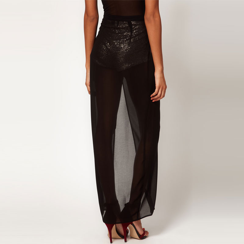 high to the thigh maxi skirts black sequin knickers