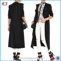 Leather-paneled jersey coat women fancy coat chinese winter coat