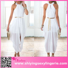 open hot sexi images for girls White Elegant Sheer Chiffon Hi Low Dress
