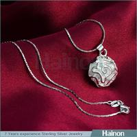 2015 cheap pendant necklace silver only flower design