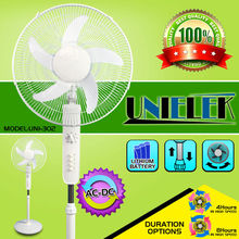 Push button 12V National stand fans ac dc rechargeable fan light with radio