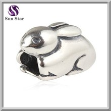 925 sterling silver jewelry wholesale silver cute rabbit charm hare animal charm
