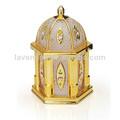 La novela de oro- plateado de vidrio jar candy/de cristal hexagonal caramelo tarro con tapa decorativa
