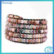 2014 vintage agata naturale perline braccialetto bracciale largo intrecciato in pelle avvolgente bracciali ingrosso