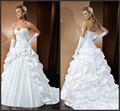 Querida longa trem babados de cetim e tafetá strapless vestidos de noiva vestem para o casamento