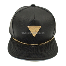 5 panel flat brim metal plate faux leather custom snapback cap