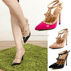 Free shipping Women's 11cm High Heel Belt With Rivets Pumps Wedding Summer Shoes