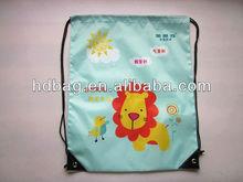 210D polyester heat transfer printing CMYK color promotional drawstring backpack