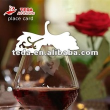 PD-016Leaves chrismas wine Glass place cards
