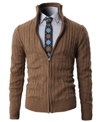 Mens Casual Knitted Cardigan Sweater Zip-up with Twisted Pattern