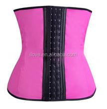 Wholesale latex rubber cincher waist trainning corset with 3 hooks