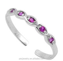 Fashion silver jewelry gifts 3A zircon Adjustable Infinity Toe Ring