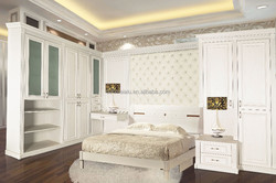 Modern white Bedroom cabinet with pvc carved board,storage cabinet