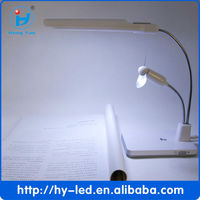 Computer Laptop Desk Led Lamp+high portable usb mini rechargeable fan CE RoHS FCC HY-8736
