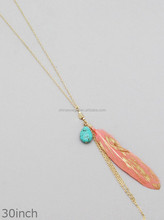 RECONSTITUTED TURQUOISE WITH FEATHER TASSEL NECKLACES