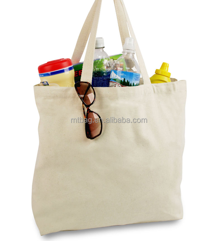 simple design shopping bag plain white cotton canvas tote bag