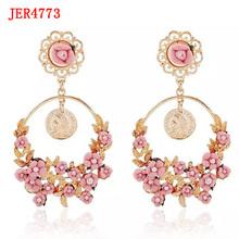 High quality popular design resin flower pendant alloy earring
