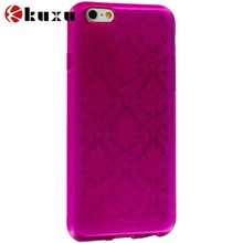 Hot Pink TPU Damask Designer Luxury Rubber Case for iPhone 6(4.7),fashion colorful cell phone case