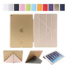 Good Quality Fashion 11 folded styles Slim smart cover case PU Leather for sublimation ipad case
