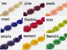 "2.5""Chiffon Trim Flower, Lace Trim Shabby trim by the yard wedding fabric for baby headband hair accessories by"