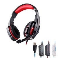 EACH G9000 USB 7.1 Surround Sound Version Game Gaming Headphone Computer Headset Earphone Headband with Microphone LED- RED/BLK