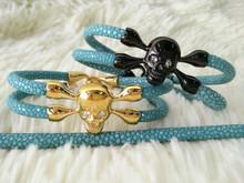 2015 HOT Sale Promotion men Gift Items,men Promotion Gift,men Stingray Leather Bracelet OEM Manufacturer