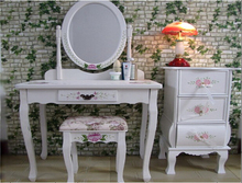 Korean style modern dressing table with mirror lights