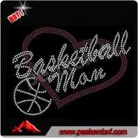 Hot Saling Iron on Baseketball Mom Rhinestone Transfer Wholesale for Tee Shirt