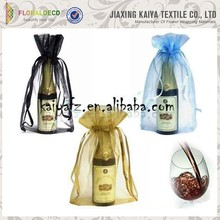 "6"" *9"" wine bottle packaging organza bags with logo ribbon"