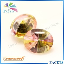 Facets Gems Artificial Oval Gemstone Multicolor Zircon