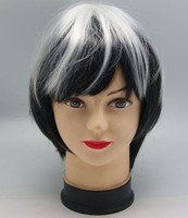 football sports fan wig green and black fake hair wigs for football fans