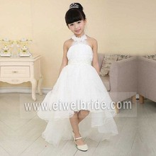 S315 Princess White Halter A-Line Sleeveless Tulle Short Front & Long Back Flower Girl Dress