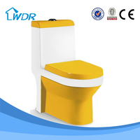 new italian design baked enamel toilet with yellow and white mix color