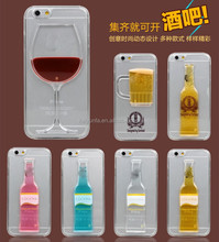 3D Wine Glass Cocktail Bottle Beer liquid Phone Case for iPhone 4 4s 5 5s 6 6+