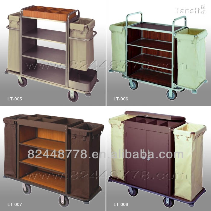 Hotel room wood metal service cart with wheels buy wood for Hotel room service cart