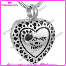 Dongguan Impress jewelry hot selling paw print charm always in my heart pet cremation jewelry