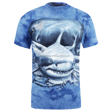 cotton t shirt shark super photo realistic printing on tie dye fabric manufacturer factory wholesale