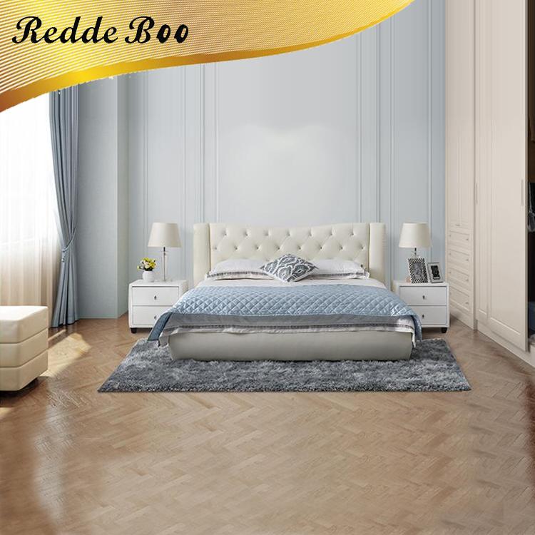 Muebles de madera cama doble, utilizado muebles doble blanco tufted ...
