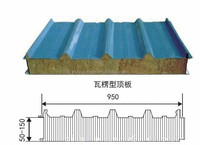 2015 hot selling 960mm colored rock wool composite sandwich roof panel