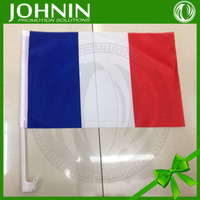 Good sales white plastic pole cheap price polyester hanging use france car flag