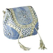 NEW Trendy Wendy Cotton Denim Cross Body Bag Large Tote Blue Messenger Bag