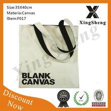 New design zipper canvas cotton shopping bag
