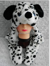 Plush animal hats with hand warmers