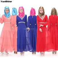 Hot Sale Wholesale Price Plus size Female Fall Party Clothing Muslim Elegant Abaya Dress Malaysia Fashoin Long Sleeve Maxi Dress