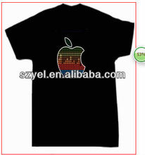 Half beat apple design EL sound actived tshirt / LED light tshirt
