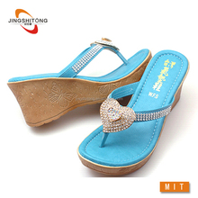 Blue wholesale ladies rhinestone flip flops